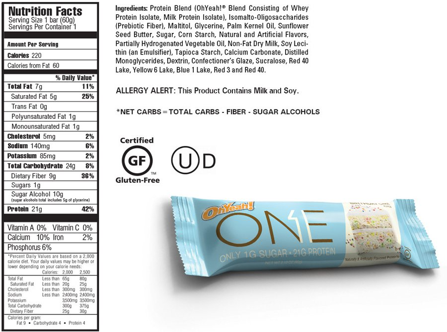 One Bar Nutritional Info Birthday Cake Image Upload