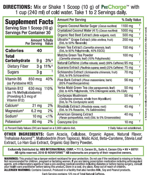 Image result for novaforme pre charge nutrition